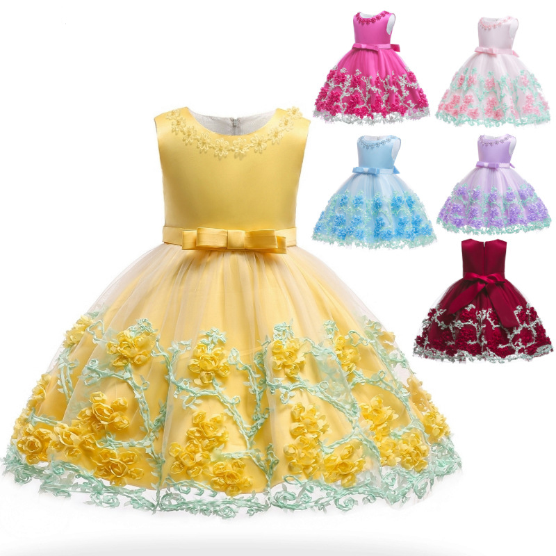 7e1ce6b3a99f Kds Girls Summer Embroidered Formal Princess Dress for Girl Elegant  Birthday Party Dress Girl Dress Baby