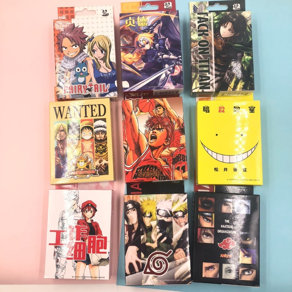 Table Game Naruto/Hataraku Saibou/Fairytail/ Assassination Classroom/Slam Dunk /Fate Cartoon Poker Cards Anime Collectible Card
