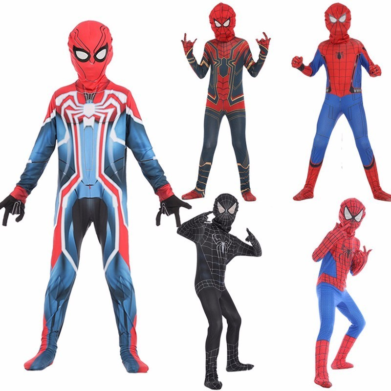 Kids Movie Anime Red Black Venom Spider Man Cosplay Costume Halloween Carnival party Spiderman Pattern Zentai Children Jumpsuits