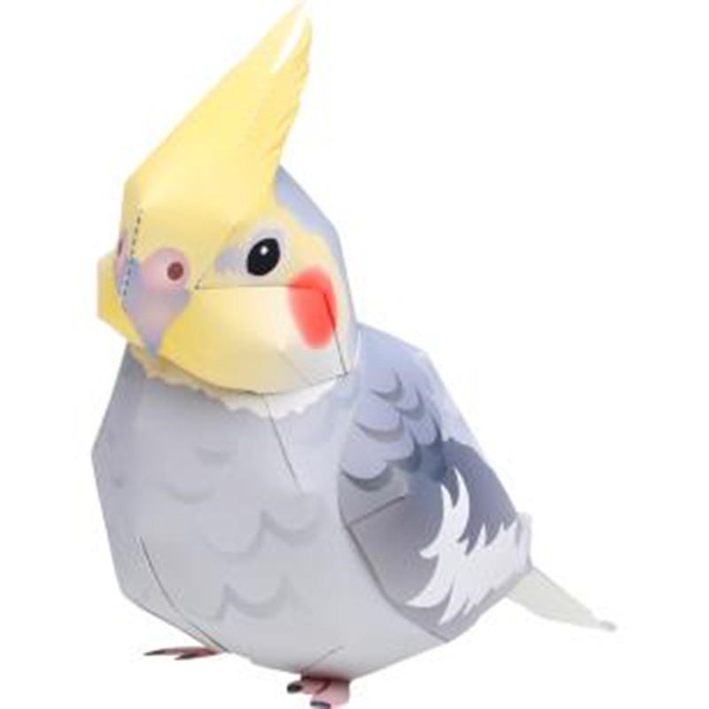 Cockatoo Cartoon Animals 3D Paper Model Space Library Papercraft Cardboard House For Children Paper Toys