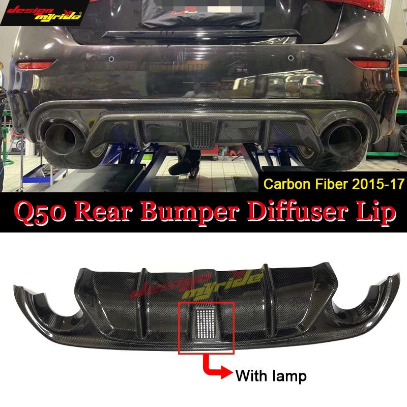 Para Infiniti Q50 versão Estilo Preto Com lâmpada Piloto Rear Bumper Lip Spoiler Difusor Adicionar em fibra de Carbono Bumper lip 2015-2017
