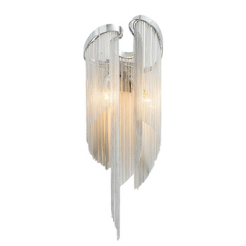 Modern Aluminum Chain Plated Wall Lamp Bedroom Foyer Dining Room Wall Lighting E14 Lamp Holder 110-240V Free Shipping