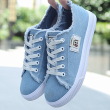Women Canvas shoes Sneakers 2019 Hot Solid Lace-up Superstar Shoes for Girls Non-slip Size 35-39 Zapatillas mujer(China)