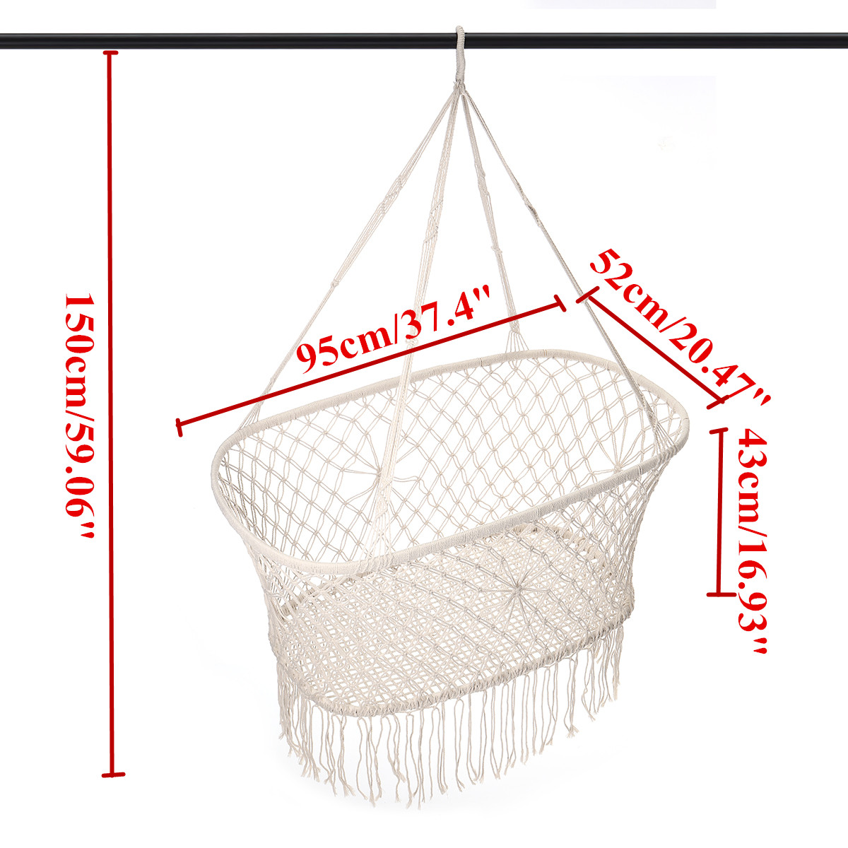 Corde de coton gland hamac chaise balançoire hamac enfants bascule sommeil lit intérieur extérieur suspendu seste enfant balançoire siège - 2