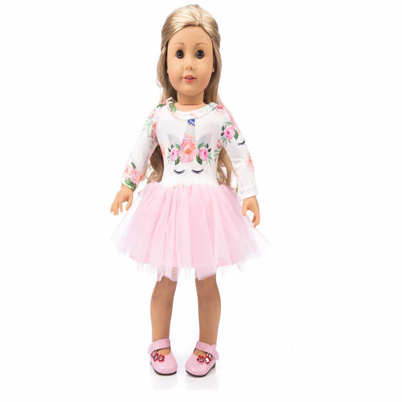 ... Doll Clothes Unicorn Tulle Dress For 18 inch Girl Our Generation My  Life Dolls Floral Print ... c9c6ef32f