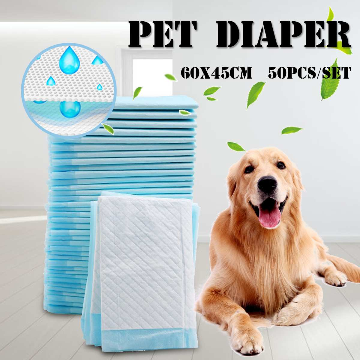 50pcs Pet Disposable Diaper Dog Cat Deodorant Super Absorption Pee Training Dog Tray Accessories For Adult Child/Pets Absorbent