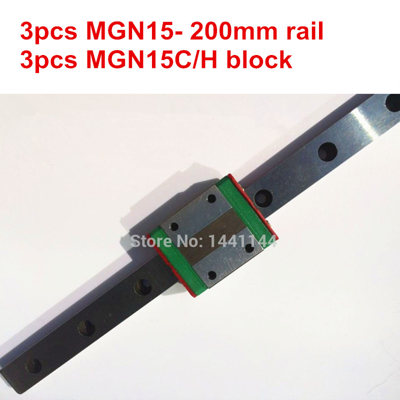 MGN15 Miniature linear rail:3pcs MGN15 - 200mm rail+3pcs MGN15C/MGN15H carriage for X Y Z axies 3d printer parts