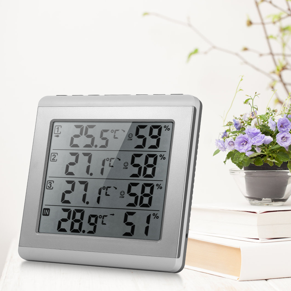 LCD Digital Wireless Indoor Outdoor Thermometer Hygrometer Four channel Temperature Humidity Meter Transmitter Comfort Level