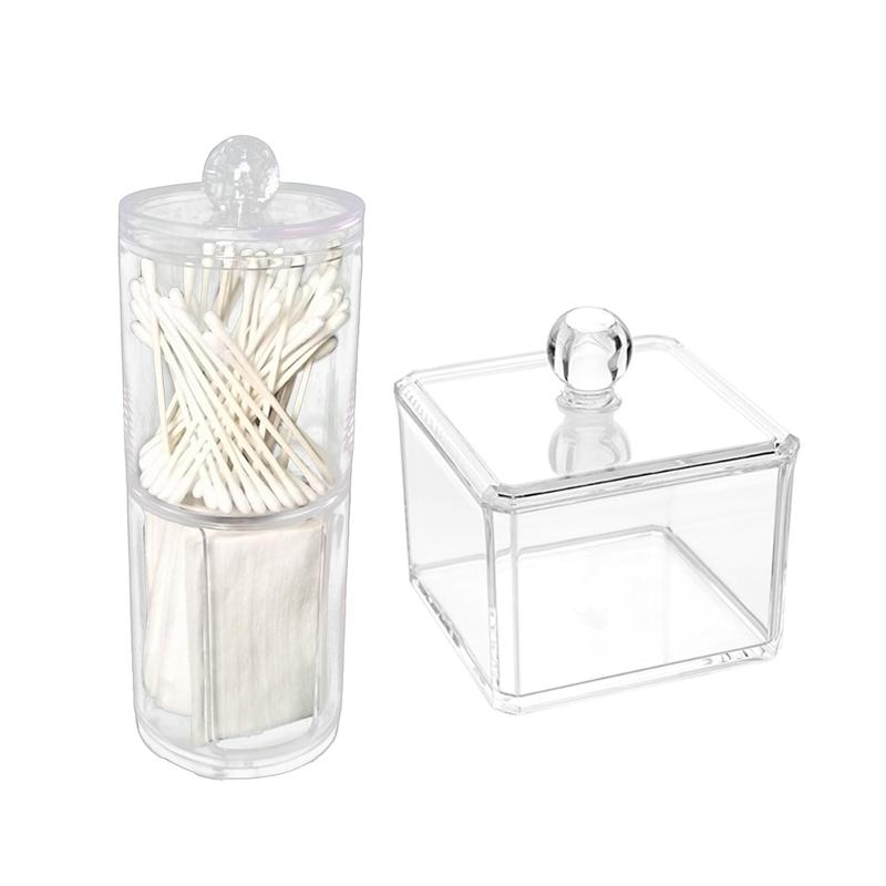 2Pcs Columns And Square Makeup Organizer Transparent Large Capacity Plastic Cosmetic Make Up Jewelry Drawer Holder Storage Box