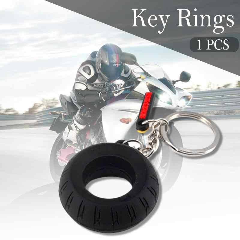 Motorbike Car Tyre Keychain Motorcycle Assistant Decoration Key Chain Tire Keyring Key Ring Keyfob Rubber Car Auto