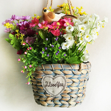 WHISM Handmade Wicker Hanging Basket Woven Artificial Flower Pot Rattan Garden Planter Wall Mount Nursery Pots with Hemp Rope