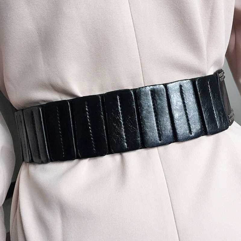 [EWQ] срезанный широкий пояс, уплотнение, черный, заклепки, панк, ветер, подходит ко всему, широкий пояс, платье, декоративный пояс, талия, уплотнение QG2010