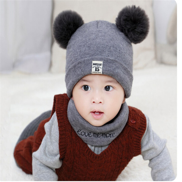 2 Pieces Newborn Baby Solid Color Plush Ball Hat And Scarf Set 4