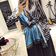DEAT Patchwork Shirt Scarf Spring Turn-Down-Collar Women Clothes Striped Fashion Summer