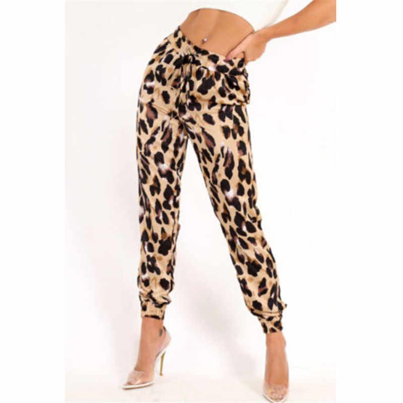 zapatillas de deporte para baratas 4c73f d751e Moda mujer alta cintura Casual pantalones 2019 nuevo primavera otoño  leopardo estampado pantalones sueltos Pantalones mujer elegante S-XL