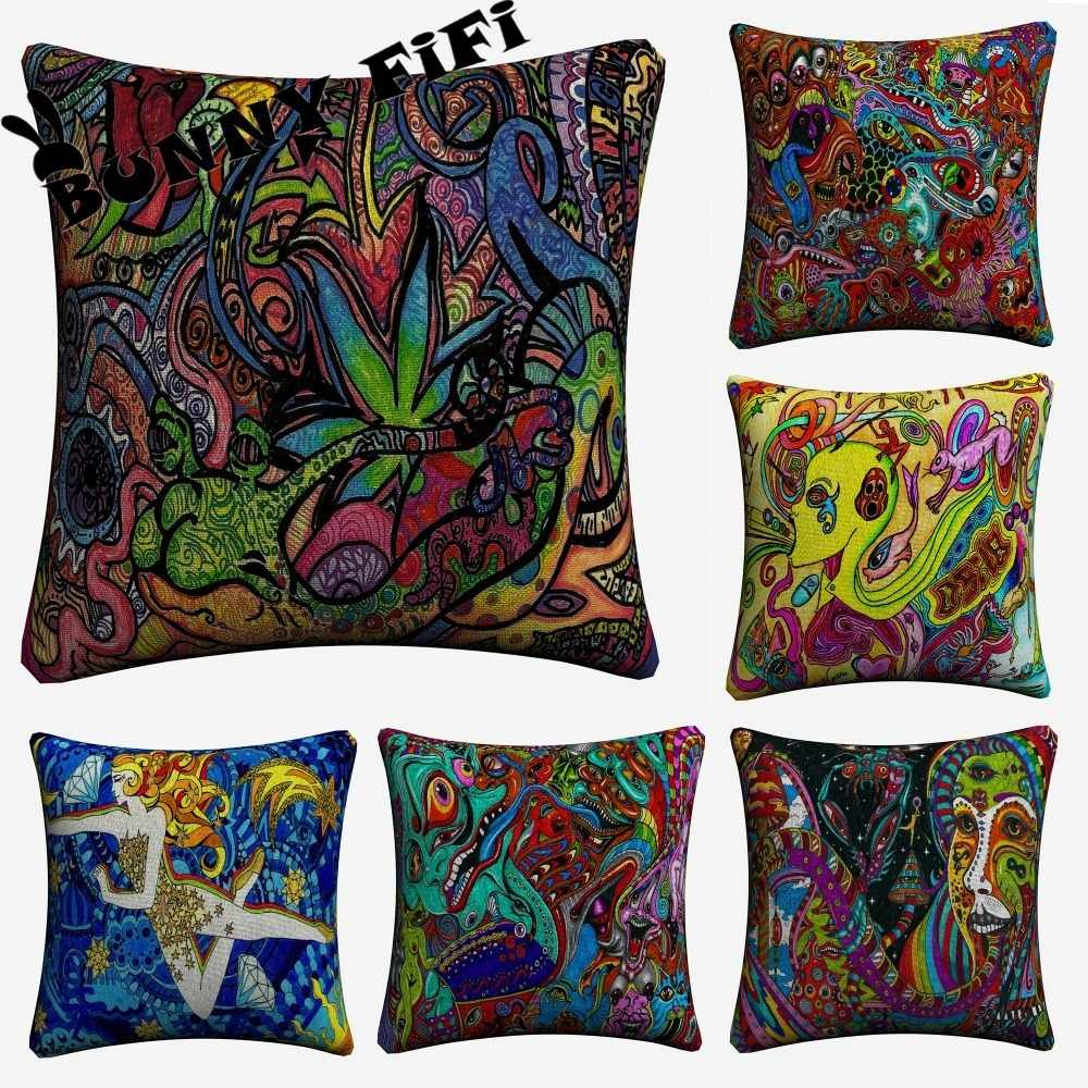 Psychedelic Abstract Acrylic LSD ACID Decorative Pillow Covers For Sofa Home Decor Linen Cushion Case 45x45cm Throw Pillow Cases