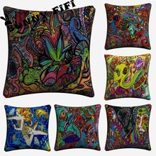 Psychedelic Abstract Acrylic LSD ACID Decorative Pillow Covers For Sofa Home Decor Linen Cushion Case 45x45cm Throw Pillow Cases new year buck flower bird decorative pillow covers for sofa home decor linen cushion case 45x45cm throw pillow cases