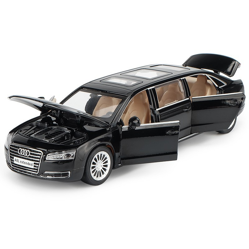 1:32 Scale Audi A8L Alloy Diecast Car Model Metal Toy A8 Car Pull Back With Sound & Light Children Educational Birthday Gift Toy image