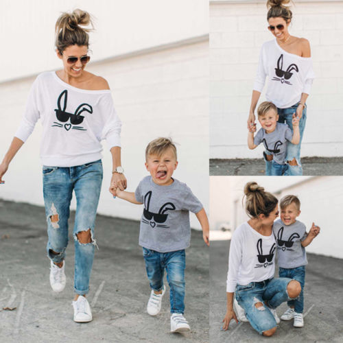 Family Matching Outfits T-shirt MOTHER SON Women and Baby's Rabbit Tee