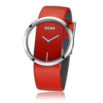 Dom Luxus Mode Casual Kristall Einzigartige Hohl Quarz Uhr Leder Sport Damen Uhr PC und gummi