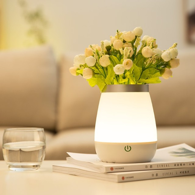 LED Vase Light Rechargeable Table Lamp Home Living Room Bed Room Luxury Decor Vase Lamp Flowers Smart Touch Control Night Light