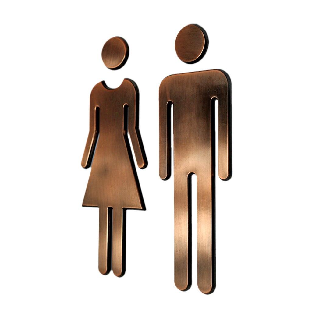 Homme & femme WC autocollants toilettes signes toilettes toilettes signalisation Plaque Bronze