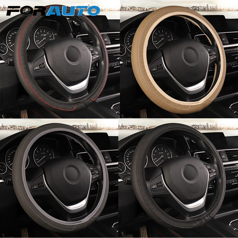 FORAUTO Car Steering Wheel Cover Fit for Most Cars Leather 37cm/38cm Car-styling Universal Steering-wheel Cover Auto Accessories