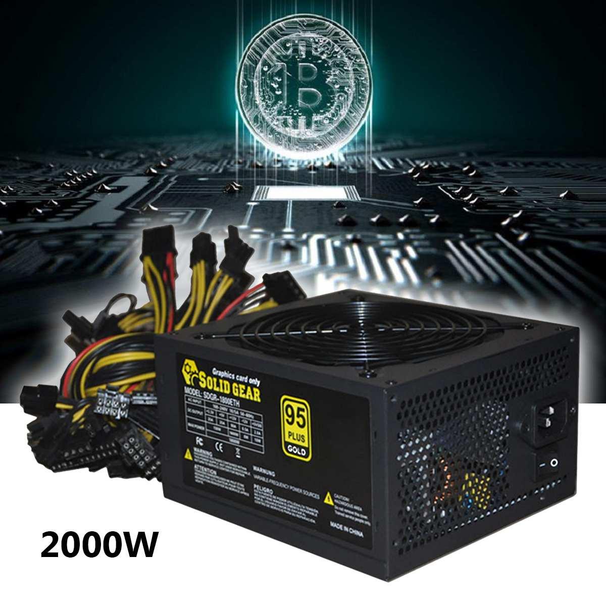 2000 Вт Плюс золото питание ETH Майнинг Биткойн ATX SATA IDE Поддержка 8 GPU эфириума PC для компьютера Minner машины