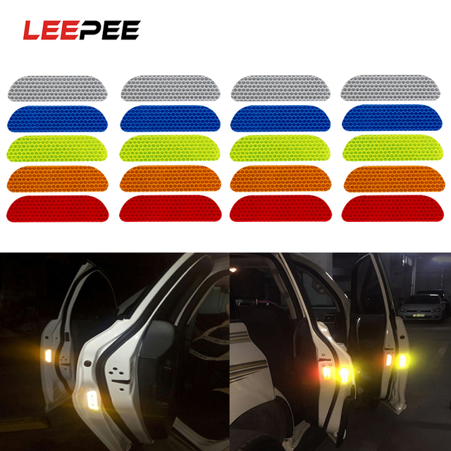 LEEPEE 4 Pieces/set Car Reflective Stickers Car Door Wheel Eyebrow Sticker Decal Warning Tape Reflective Strips Safety Mark