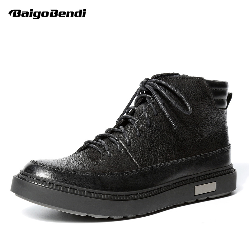 Men Genuine Leather Winter Boots Lace Up Black Ridding Boots Boys Students Casual Ankle Boots Fashion Sneakers ShoesMen Genuine Leather Winter Boots Lace Up Black Ridding Boots Boys Students Casual Ankle Boots Fashion Sneakers Shoes