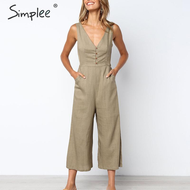 Simplee Casual linen white women   jumpsuit   Solid v neck buttons plus size cotton overalls Straight female holiday   jumpsuits   2019