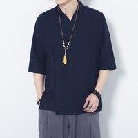 #4227 Chinese Style Cotton Linen Shirts Men Summer 2019 Blue/White Short Sleeve Shirt For Men Vintage V Neck Plus Size
