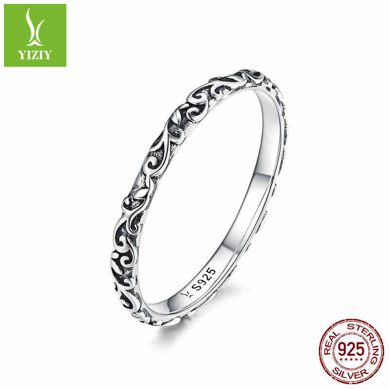 925 Sterling Silver Retro Flower Shaped Simple Ring Original S925 Long Plant Engraved Cocktail Rings for Women Luxury Gift