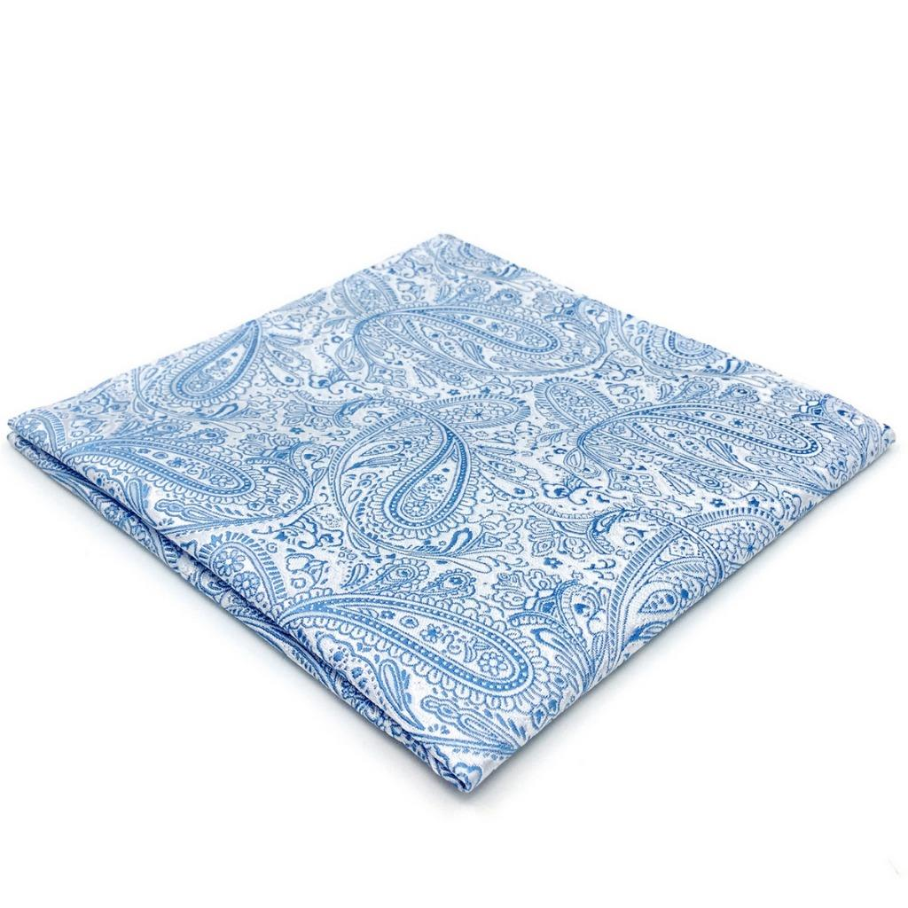EH12 Mens Pocket Square Azure Paisley Silk Fashion Novelty Handkerchief For Suit Jacket Gift