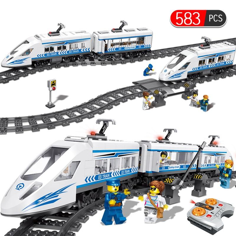 583 pièces série ferroviaire de la ville gare ferroviaire RC blocs de construction ferroviaires à grande vitesse briques jouets pour garçons Compatibe avec Legoed Technik
