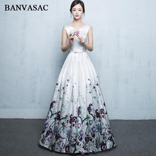 BANVASAC Elegant V Neck Floral Print Draped A Line Long Evening Dresses Party Satin Bow Sash Backless Prom Gowns