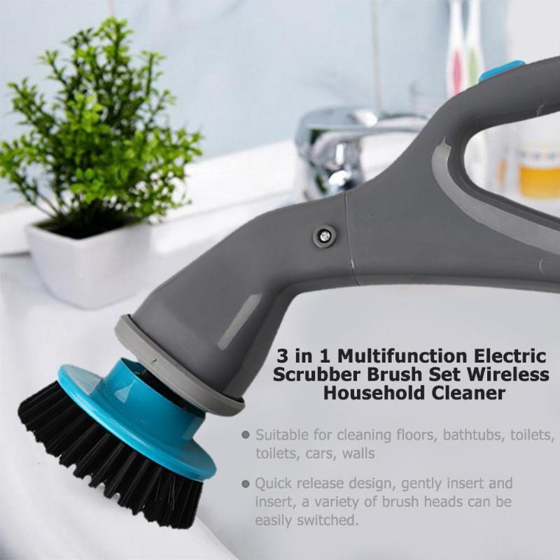 3 em 1 Scrubber Escova Conjunto de Banheiro Furadeira sem fio Recarregável Sem Fio Elétrico Multifunções Cozinha do Agregado Familiar de Limpeza Escovas