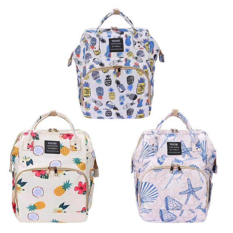 Portable Mummy Diaper Bag Printed Maternity Nursing Bag Large Capacity Pregnancy Travel Backpacks Waterproof Mother Nappy Bags
