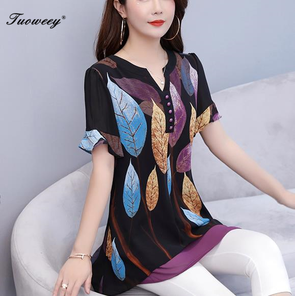 2019 Summer Women Chiffon   Blouse     Shirts   Casual button Loose elegant v neck Short Sleeve Floral Print Tops blusas