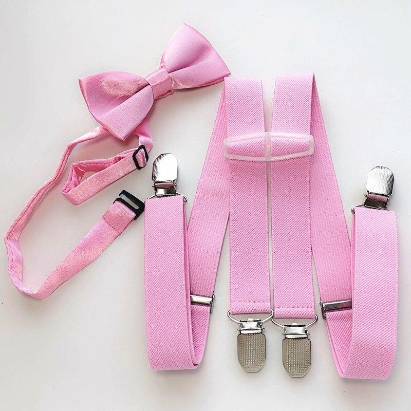 LB010-S Size Light Pink Color Suspender Bow Tie Sets Kids Adjustable 3 Cips 4 Clips Braces Neck Tie Set Children Party Wear