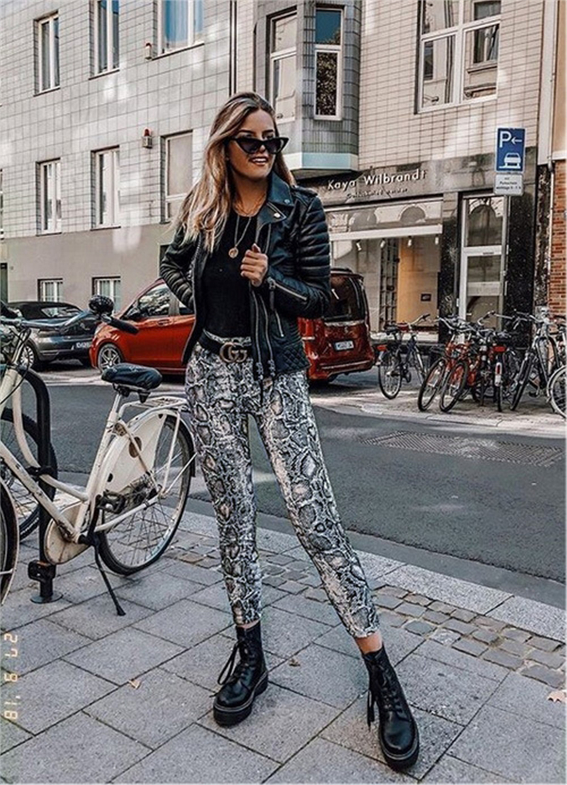Women Snake Print High Waist Stretch   Pants   Trousers Casual Joggers Sport   Pants   Vintage female streetwear   capris   summer   pants