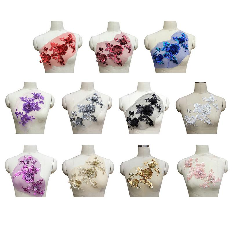 Sequins Three-Dimensional Flower Lace Applique Embroidery Accessories DIY Decal Polyester&bead Wedding Clothing Decoration