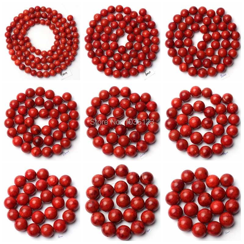 Free Shipping 4-24mm Natural Red Sponge Coral Round Shape Gem Loose Beads Strand 15