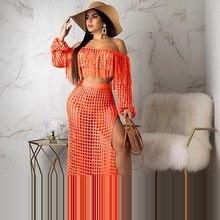 цены на Ladies Slash Neck Two Piece Knit Sets Women Tassels Crop Top And Skirt 2 Piece Set Solid Summer Beach Maxi Suits  в интернет-магазинах