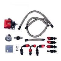 evil energy Black Red Aluminum Fuel Pressure Regulator FRP Adjustable With Gauge Hose End AN6 Fitting Set Engine Parts