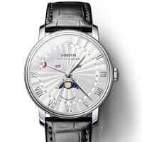 Швейцария Элитный бренд часы для мужчин LOBINNI для мужчин часы сапфир водостойкий Moon Phase relogio masculino Япония Miyota Move для мужчин t
