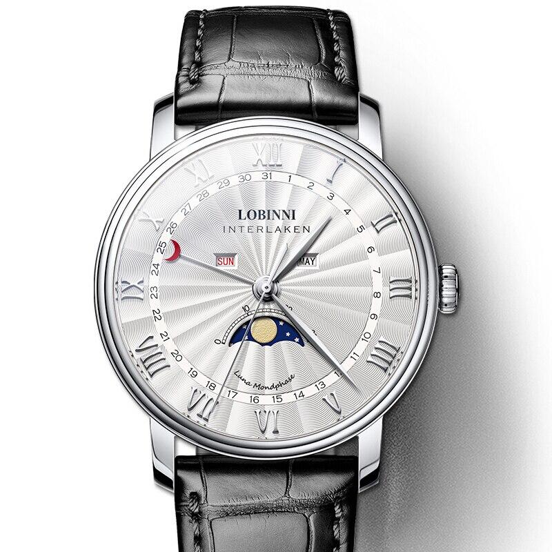 Suisse montre de marque de luxe hommes LOBINNI montres hommes saphir étanche Phase de lune relogio masculino japon miborough mouvement