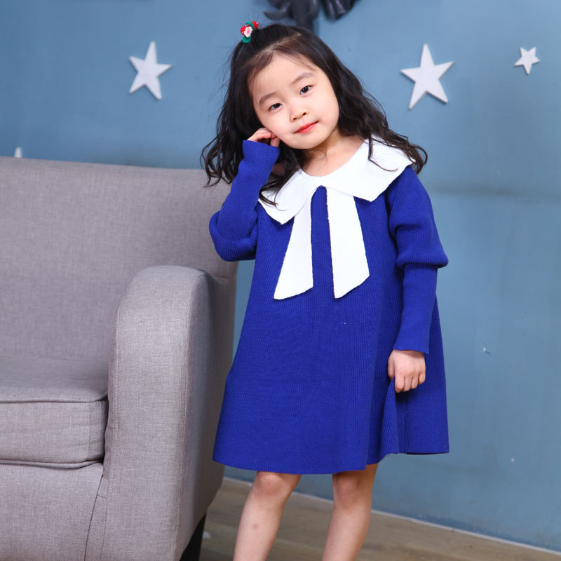 New Fashion Baby Girls Sweaters Spring Autumn Pure Cotton Blue Sweater Dress Bow Toddler Girl Fall Knitted 24M 3T 4 5 6 7 9 10YNew Fashion Baby Girls Sweaters Spring Autumn Pure Cotton Blue Sweater Dress Bow Toddler Girl Fall Knitted 24M 3T 4 5 6 7 9 10Y