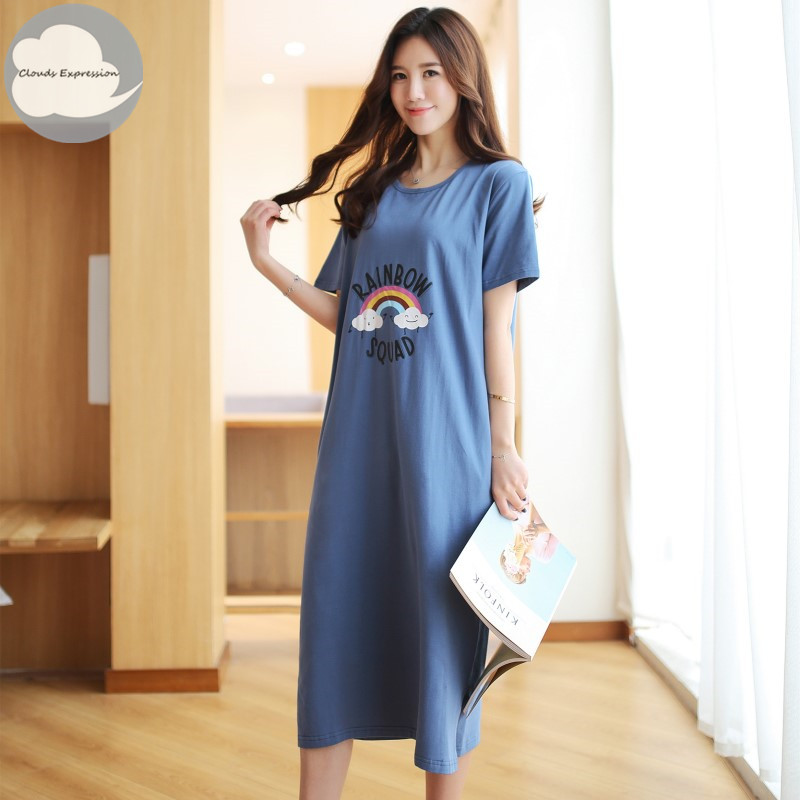 Summer Cotton Women's   Nightgown   Nightdress Cartoon Rainbow Print Sleepwear Casual Nightwear Loose   Nightgowns   Fashion   Sleepshirts
