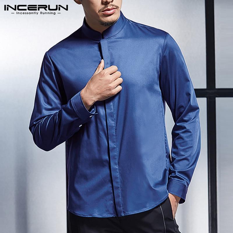 2019 Silk Satin Men Business Shirt Stand Collar Long Sleeve Smooth Tops Slim Fit Men Dress Shirts Wedding Shirt Camisa INCERUN